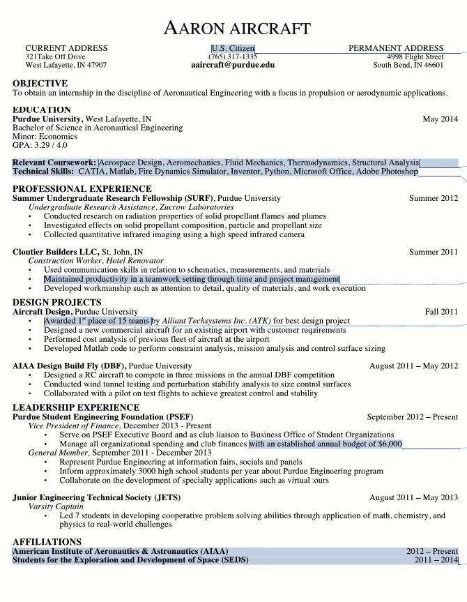 Example Of Aeronautical Engineering Resume - http://exampleresumecv ...