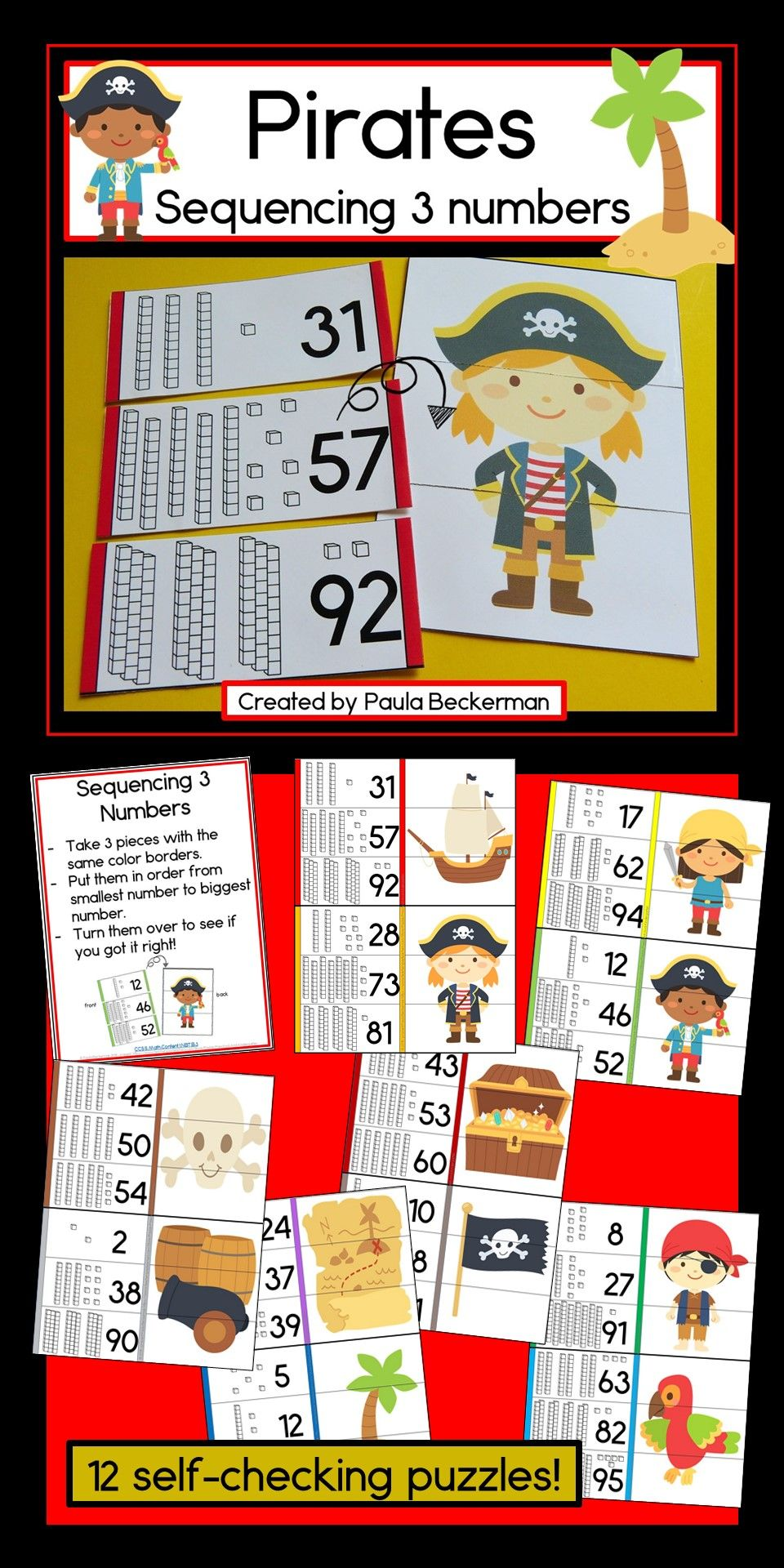 Ordering 3 Numbers Pirate Theme Pirate Activities Fun Math Math Concepts [ 1920 x 960 Pixel ]