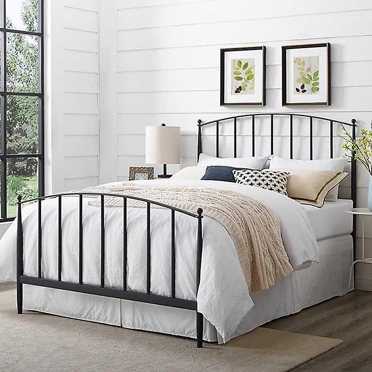 Whitley Metal Slat King Bed Kirklands Headboard And Footboard Black Bedding Furniture Queen bed frame with headboard and footboard