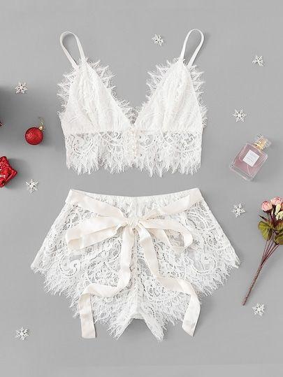 Ribbon Tie Eyelash Lace Lingerie Set |Bridal Inspiration | Sexy Bride |