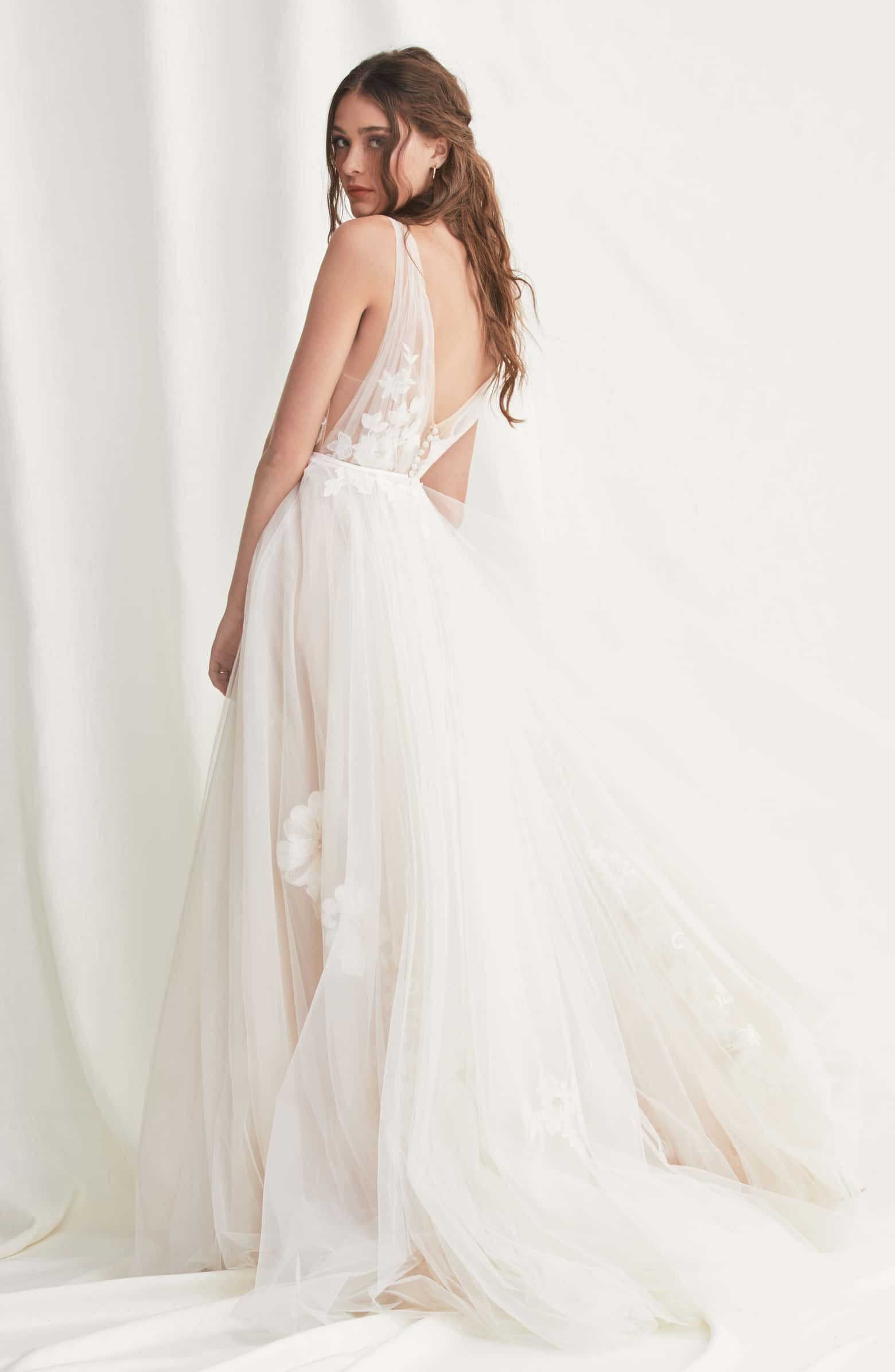 Willowby Lanie Floral Applique Tulle A Line Wedding Dress