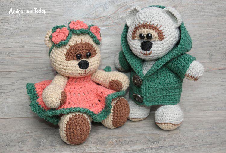 Amigurumi Crochet Patterns Teddy Bears : Honey teddy bears in love crochet pattern free amigurumi