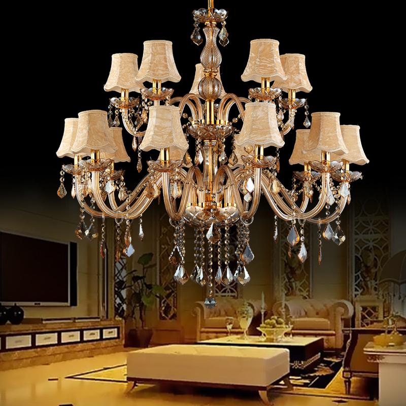 Large Luxury Crystal Chandelier European Amber Ceiling Light Bedroom Dining Room Bedroom Ceiling Light Chandelier Pendant Lights Chandelier
