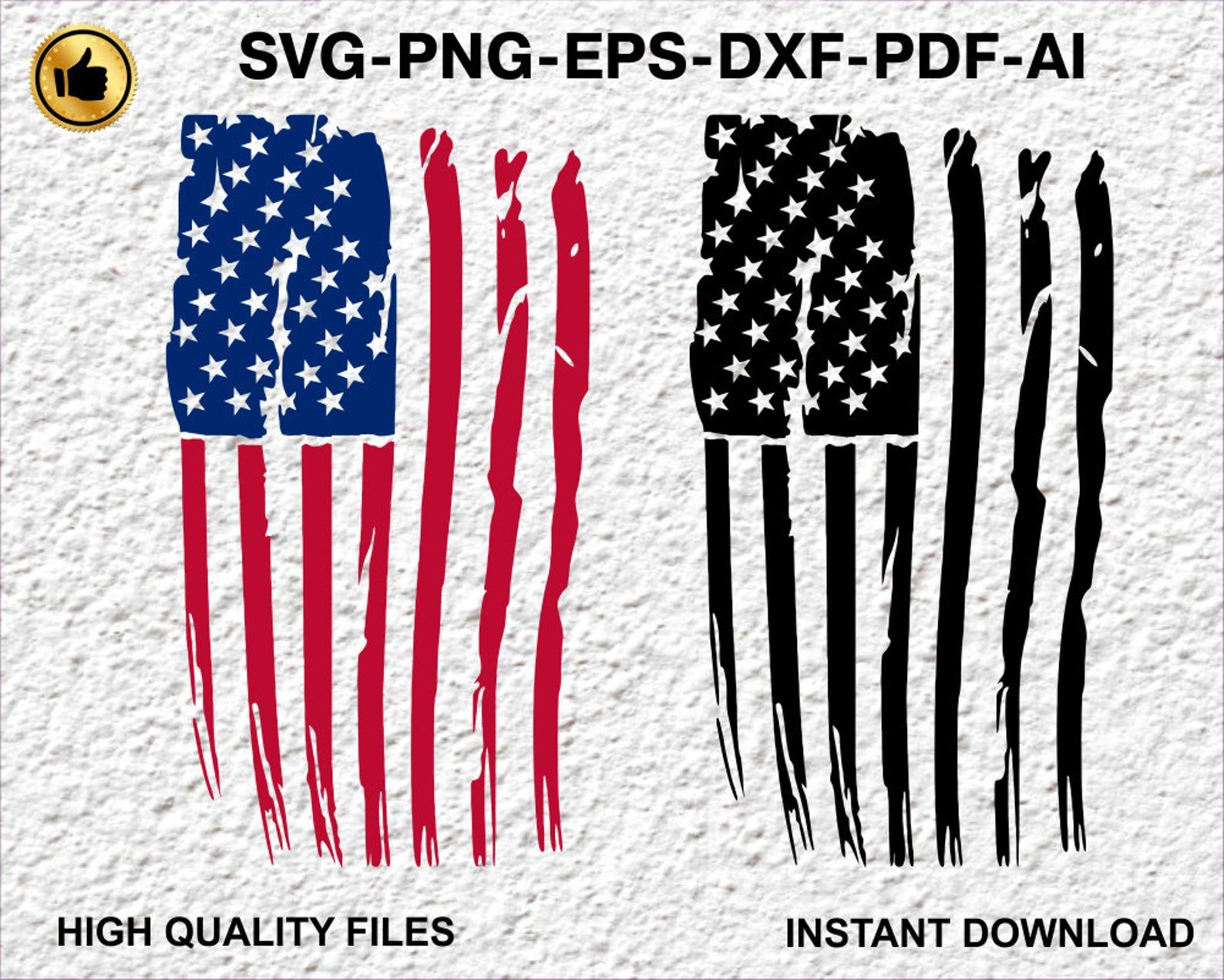Distressed American Flag svg download png eps ai dxf pdf