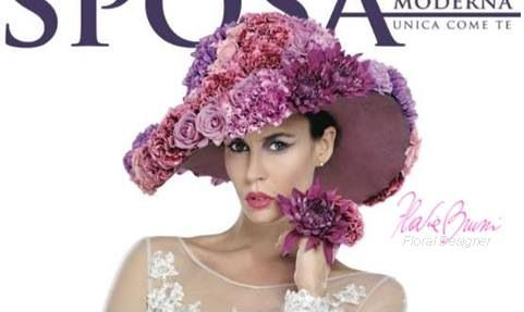Cover magazine Sposa Moderna by Flavia Bruni#floraldesigner#wedding#hat#flowers