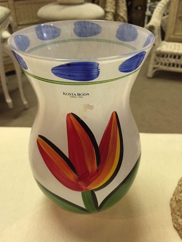Kosta Boda Vase White Frosted Glass W Flower Design Orange For