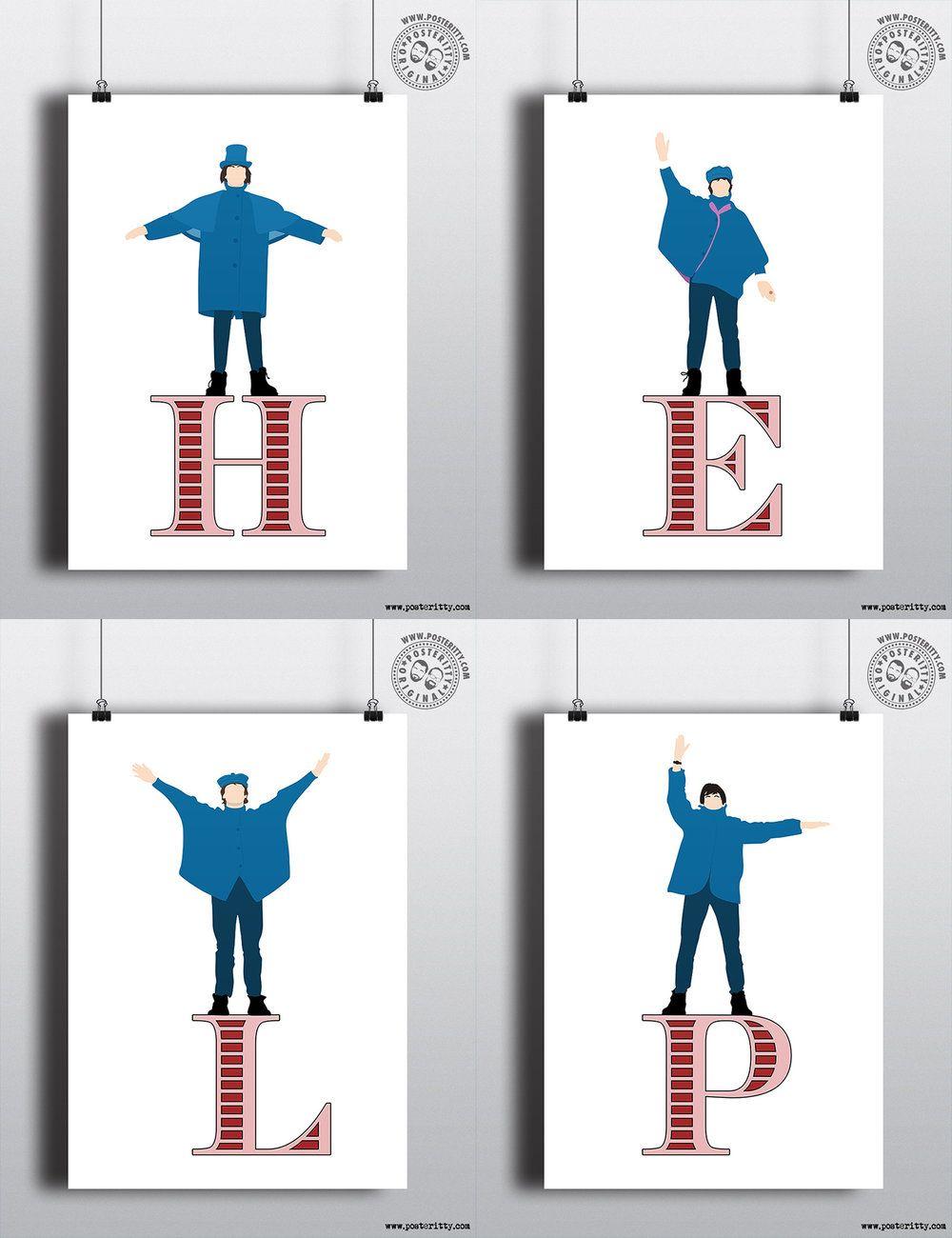 Poster design help - Beatles Help Minimal Music Poster Design By Posteritty Posteritty Minimalposters Minimalistic