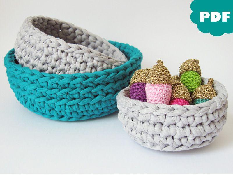 e book h kelanleitung korb aus textilgarn crocheting tutorial basket via. Black Bedroom Furniture Sets. Home Design Ideas