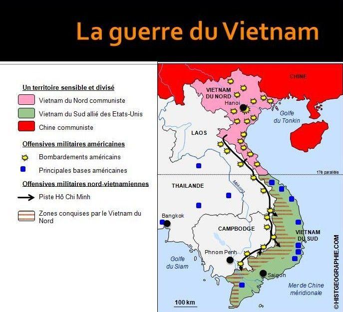 guerre du vietnam carte Carte de la guerre du Vietnam (1963 1975). Source
