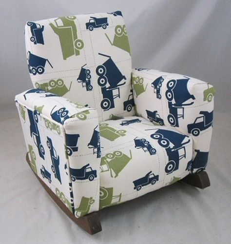 New childrens upholstered rocking chair trucks toddle rock for Kids upholstered chair