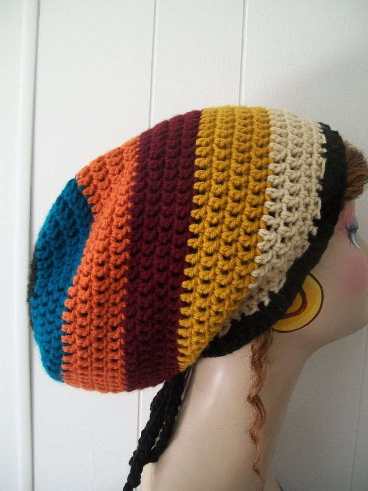 MEN/WOMENS HANDMADE CROCHET RASTA TAM, DREADLOCK SLOUCHY HAT GREEN ...