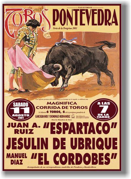 Cartel De Toros Plaza De Toros De Pontevedra Galicia Rodeo Poster Vintage Poster Art Vintage Posters