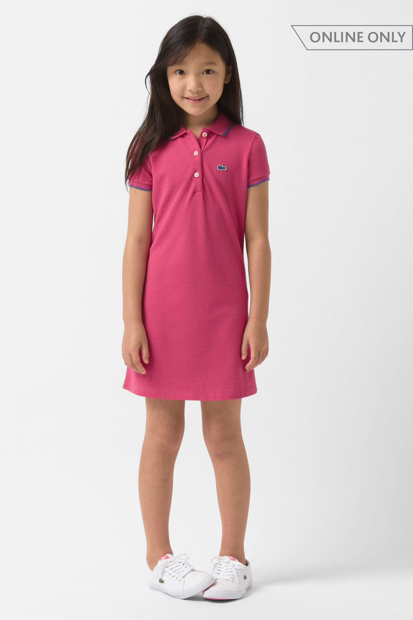 955d03301bc2f Lacoste Girl s Short Sleeve Pique Polo Dress with Tipping and Neon Croc    Dresses