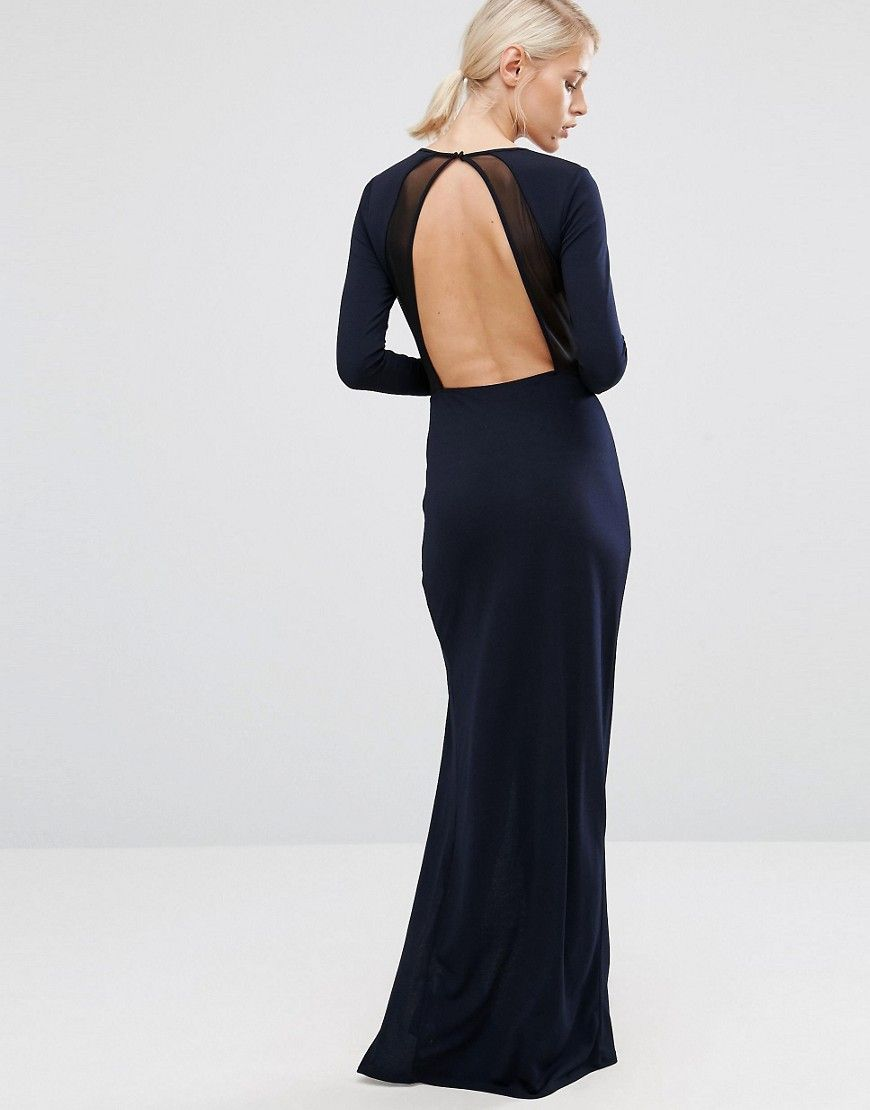 Image of asos crepe long sleeve maxi dress with mesh insert