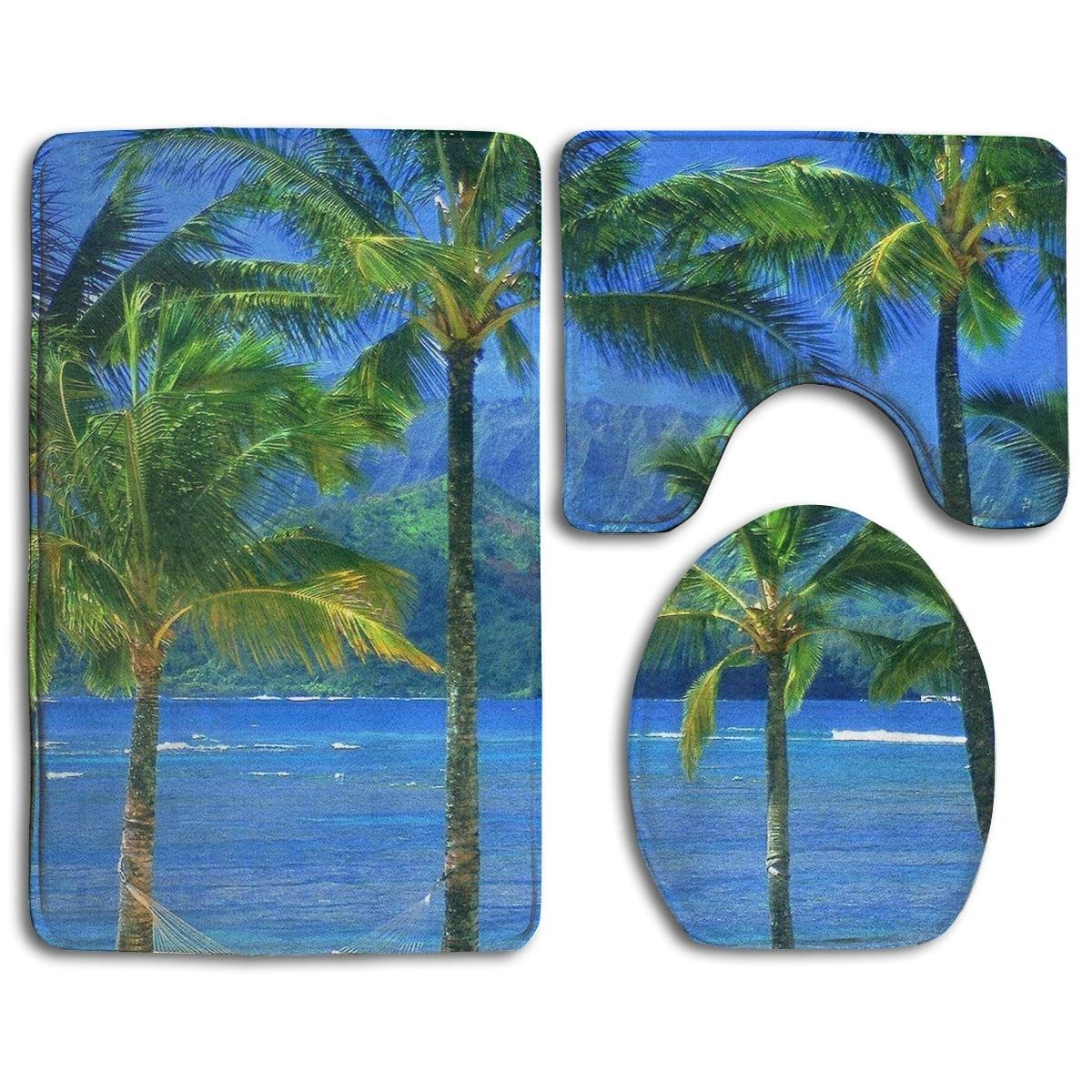 coconut palm tree 3 piece bathroom rugs set bath rug contour