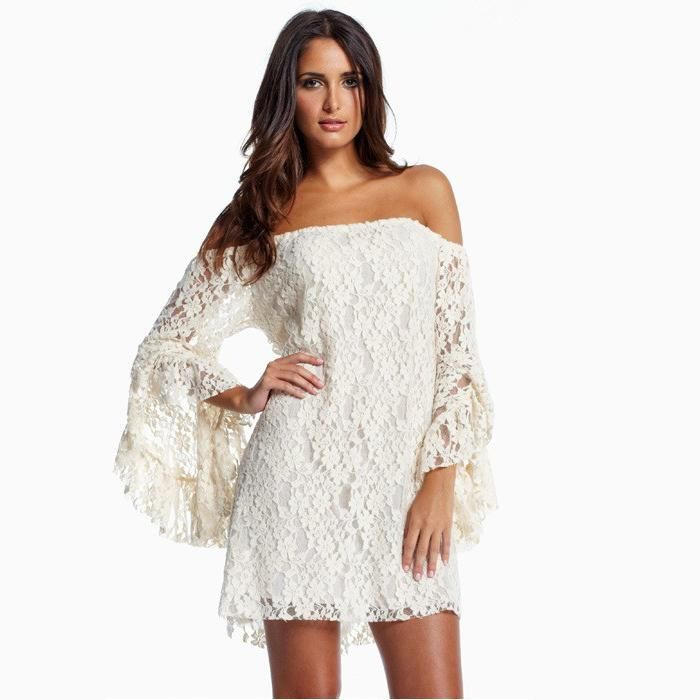 Best Quality 2015 New Fashion Women Slash Neck Dress Sexy Lace Dress Butterfly Sleeve Short Party Dress Slim Hollow Out At Cheap Price, Online Night Out & Club   Dhgate.Com
