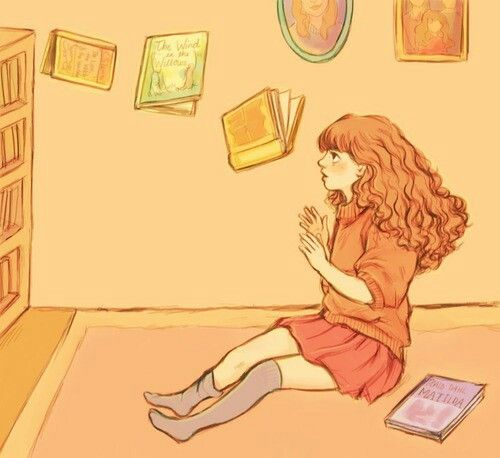 """can we just take a moment to imagine little cute nine-year-old hermione reading matilda and peering into this book about a smart, bookish girl who could move things with her mind and then can you imagine her concentrating very hard on the books on the bookshelf and slowly, slowly, getting them to move"""