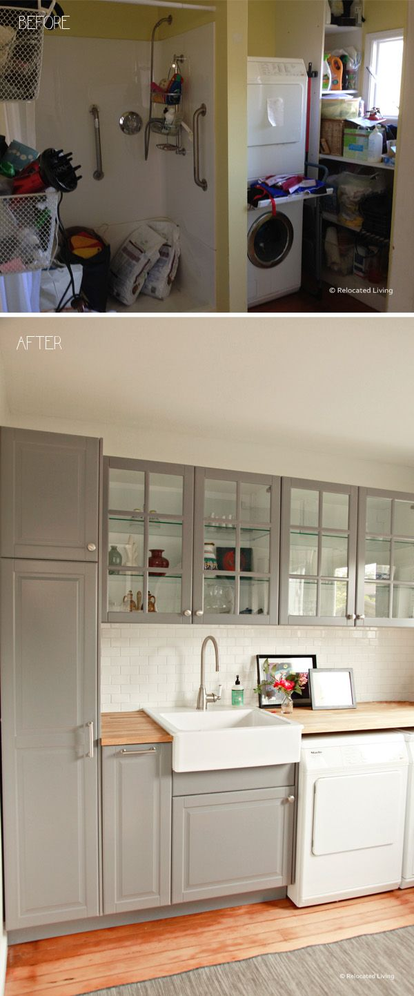 Superbe Cabinet Color❤ 🚪 Timeless IKEA Grey Laundry Before And After Butcher Block