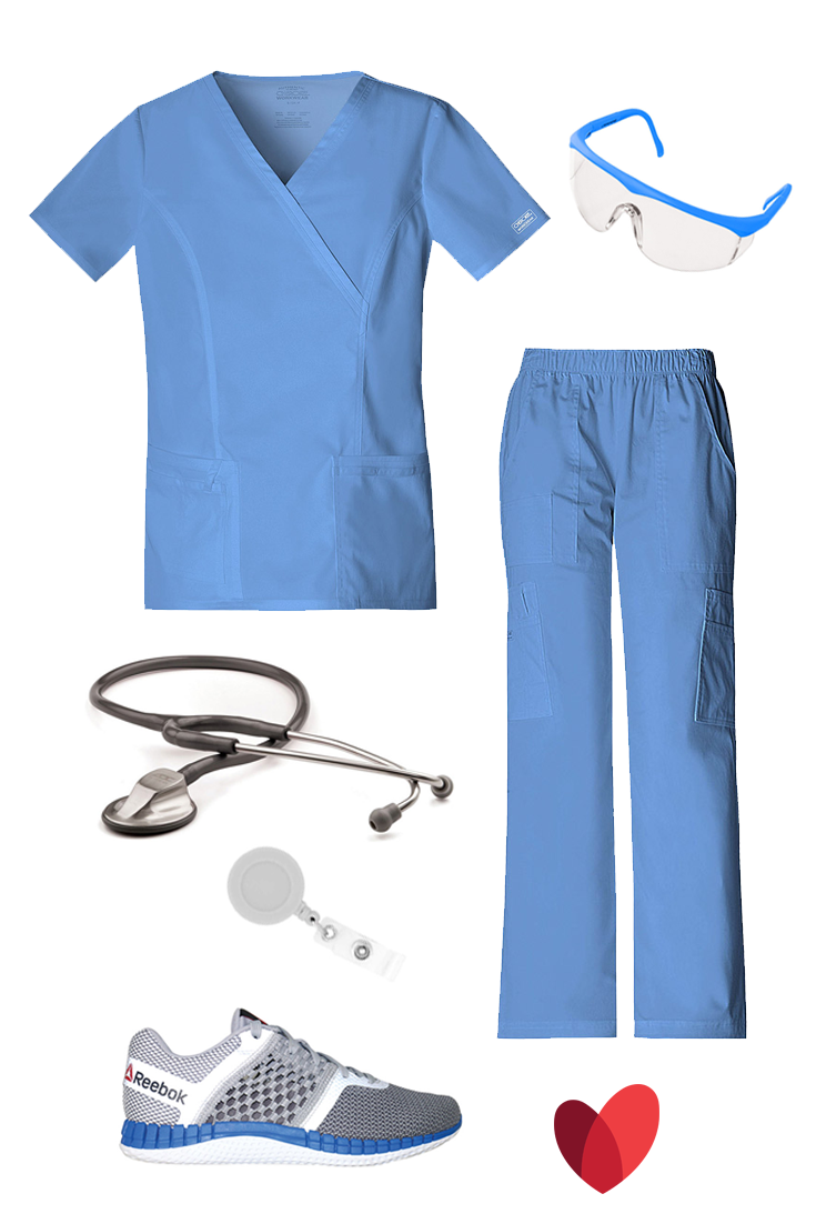 Classic themed scrub outfit by allheart featuring: Scrub top (ciel)- Core Stretch by Cherokee Workwear Women's Mock Wrap Princess Seam Solid / Scrub pant (ciel)- Core Stretch by Cherokee Workwear Women's Elastic Waist / Stethoscope (metallic gray) -ADC® Adscope® Platinum Clinician Stethoscope / Badge reel (white)- Think Medical Round Retractable / Shoe  ( Tin Grey/Shark/Silver/White/Blue)- Reebok Men's Zprint Run Athletic Shoe / Glasses (neon blue)- Prestige Medical Healthmate Colored Full…