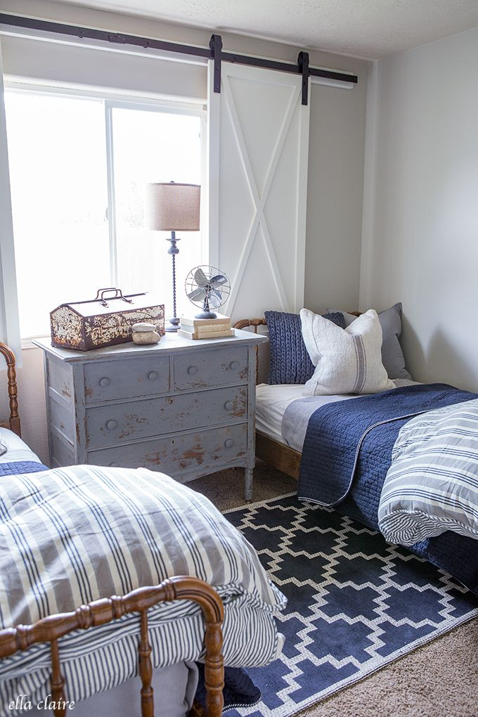 Navy And Ticking Vintage Boys Room With Diy Barn Door Window Treatment