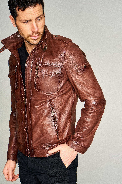 کت تک چرم مردانه قهوه ای Leather jacket, Red leather