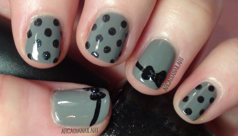 Easy Nail Art - Bow and Polka Dot Design on Short Nails ...