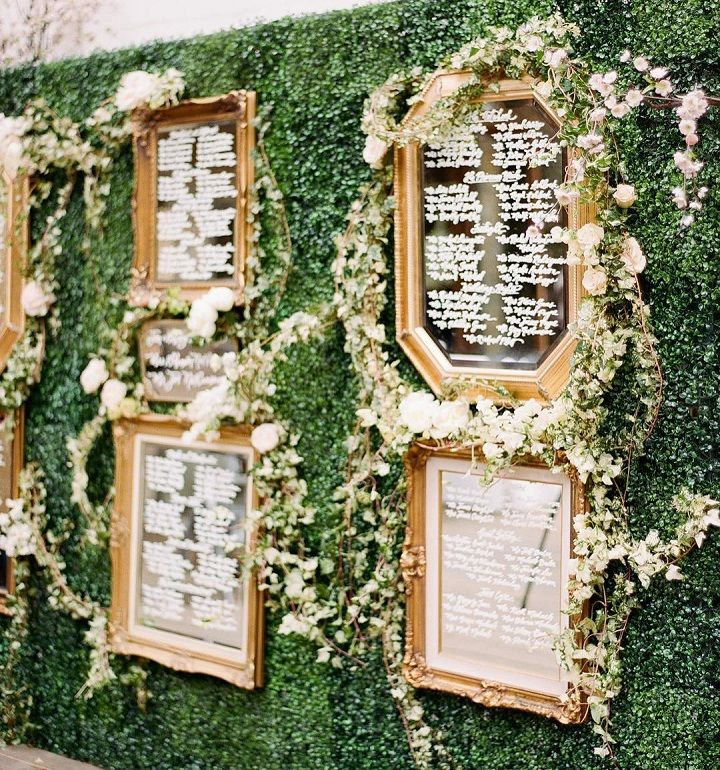 Inspired by Snow White Wedding Guest name were written on various gold-rimmed mirrors #seatingplan #seatingchart #escortcards #weddingideas