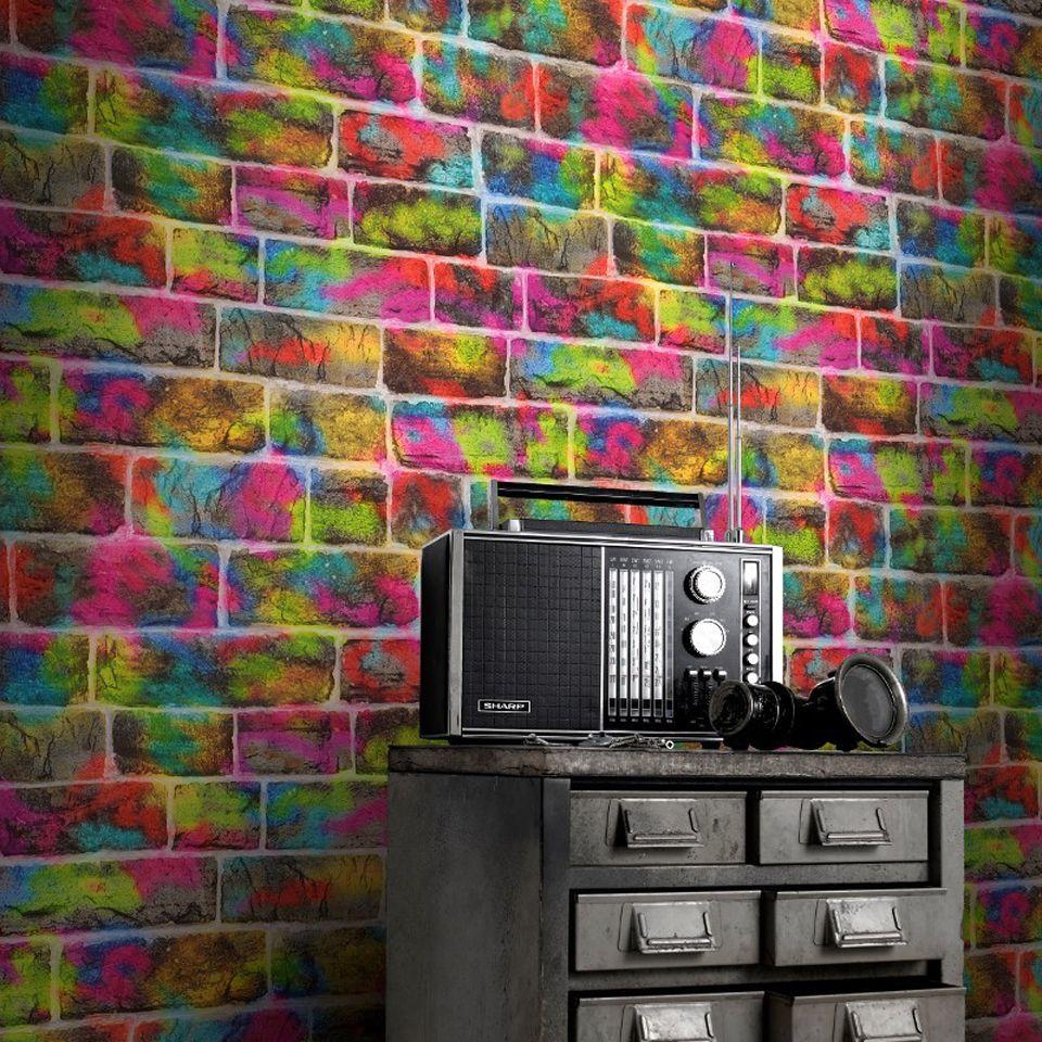 Colección Kids Zone Graffiti Wallpaper Mural Wallpaper Brick Wallpaper