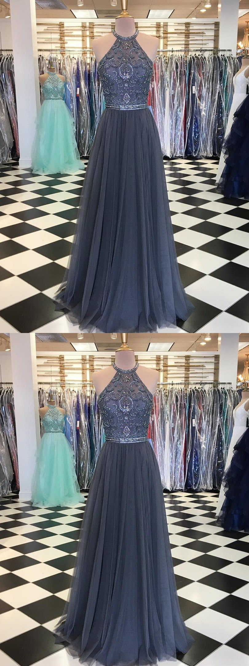 Chic prom dress silver beading aline long prom dresses evening