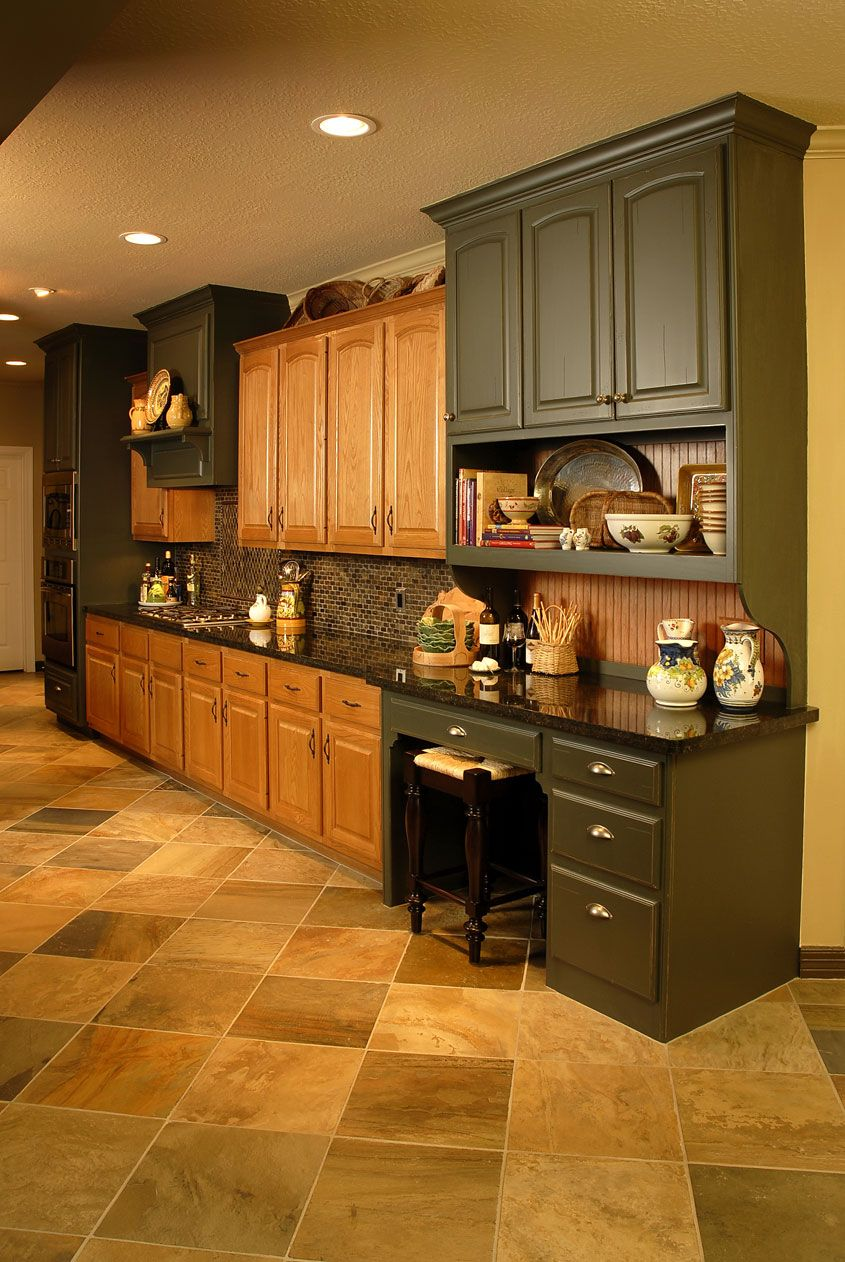 Oak cabinets with dark green in kitchen remodel | Home ...