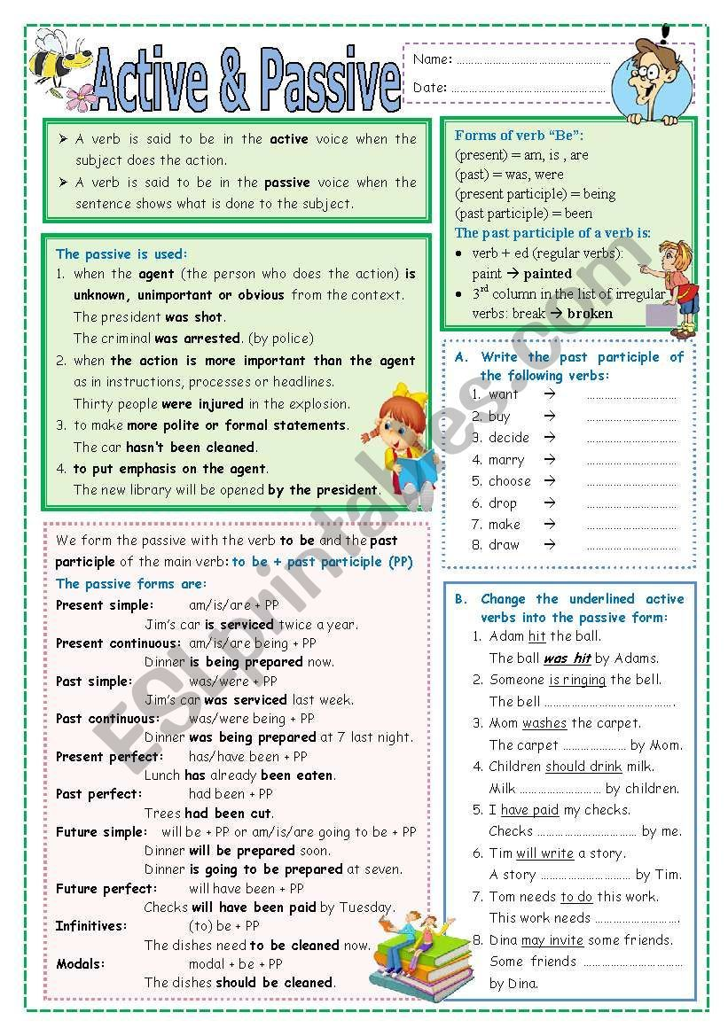 This Worksheet Includes I Think Everything Related To Active And Passive Voice It Includes Both Ex Active And Passive Voice Teaching English Grammar Passive