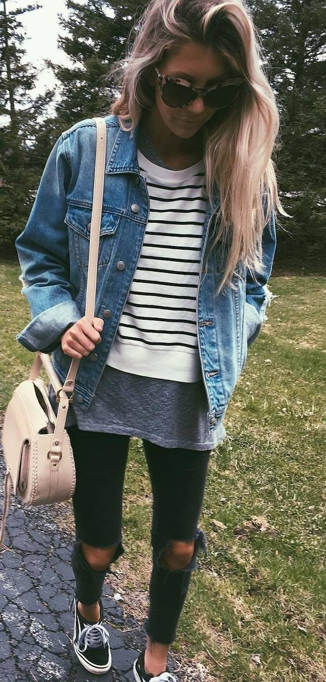 5439f575eb summer outfits Denim Jacket + White Striped Top + Black Ripped Skinny Jeans