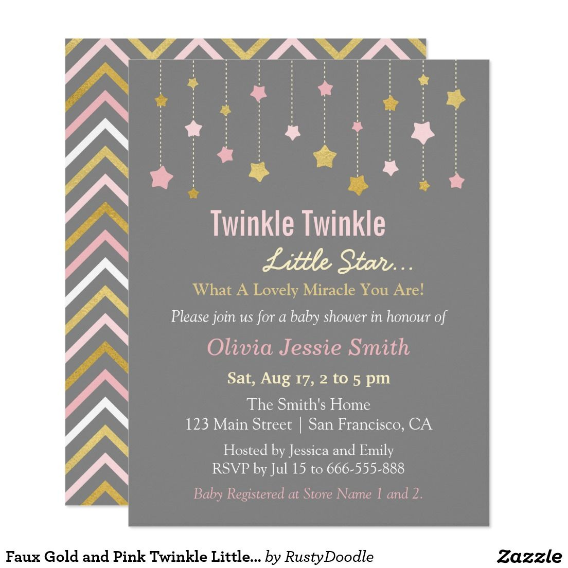 faux gold and pink twinkle little star baby shower card | pink, Baby shower invitations