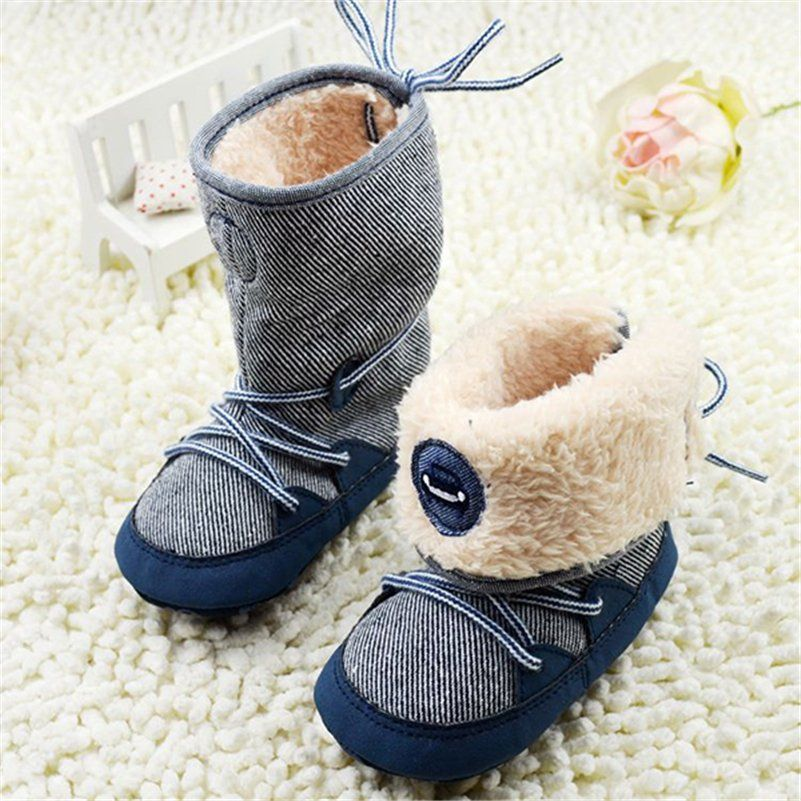 Little Kids Winter Fur Inner Soft Sole First Walkers Boots for Toddler Newborn Baby Girls Boys Lace Up Anti-Slip Crib Shoes