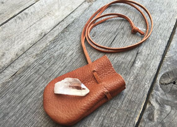 handmade leather medicine crystal pouch necklace by thespiritwoods on etsy