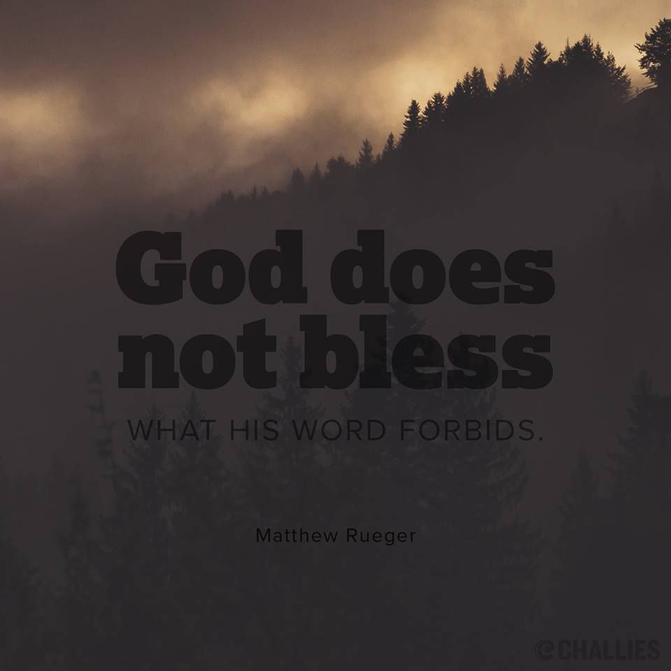 God does not bless what his word forbids. —Matthew Rueger