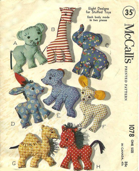 1078 McCalls 1943 Toys Stuffed Animals Sewing - 8 Vintage Animal ...