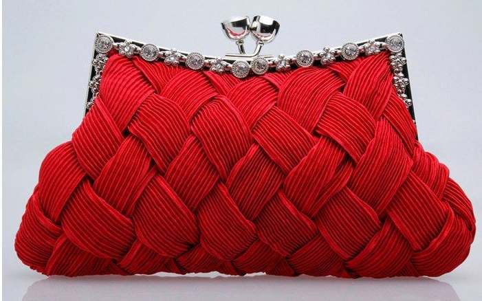 """Red Plaid Evening Purse with Stones Design  Product ID : P0012  Main Colour : Red  Available Colours : Red  Price : CAD 40.9  Style : Evening Clutch with Strap  Material : Plaid  Handbag Dimensions: Length: 9"""" & widest Width: 5.8"""""""