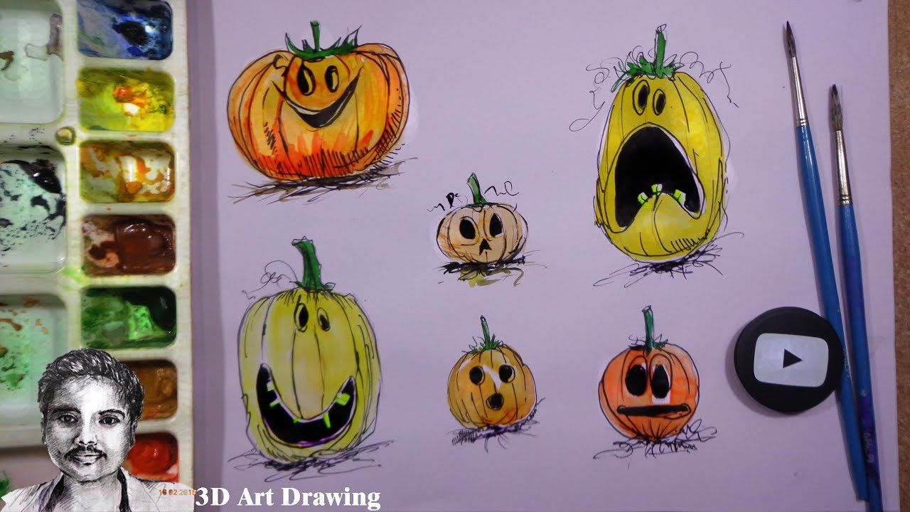 how to halloween face expressions drawing | drawing class | drawings