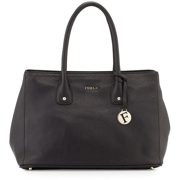 Furla Serena Medium Leather Tote Bag ($200) ❤ liked on Polyvore featuring bags, handbags, tote bags, onyx, real leather handbags, leather purse, genuine leather purse, leather tote handbags and leather tote bags