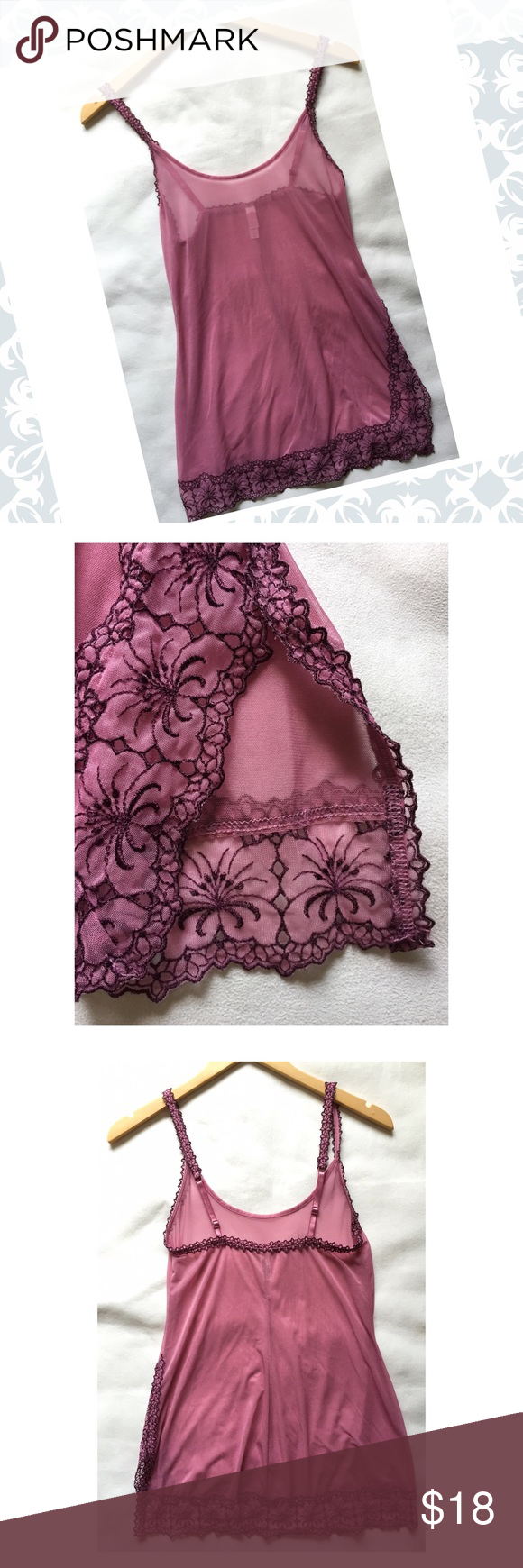Victoria's Secret sexy sheer chemise💄⚡️ Pretty rosey mauve sheer chemise in size XS. Classic Victoria's Secret with slider straps, slit on the side and pretty flower appliquéd lining. 26in. long, chest 14in. across, hip area laying flat 17in. across. 80% nylon/20% spandex. Will best fit XXS-XS. Was washed but never tried on. Victoria's Secret Intimates & Sleepwear Chemises & Slips