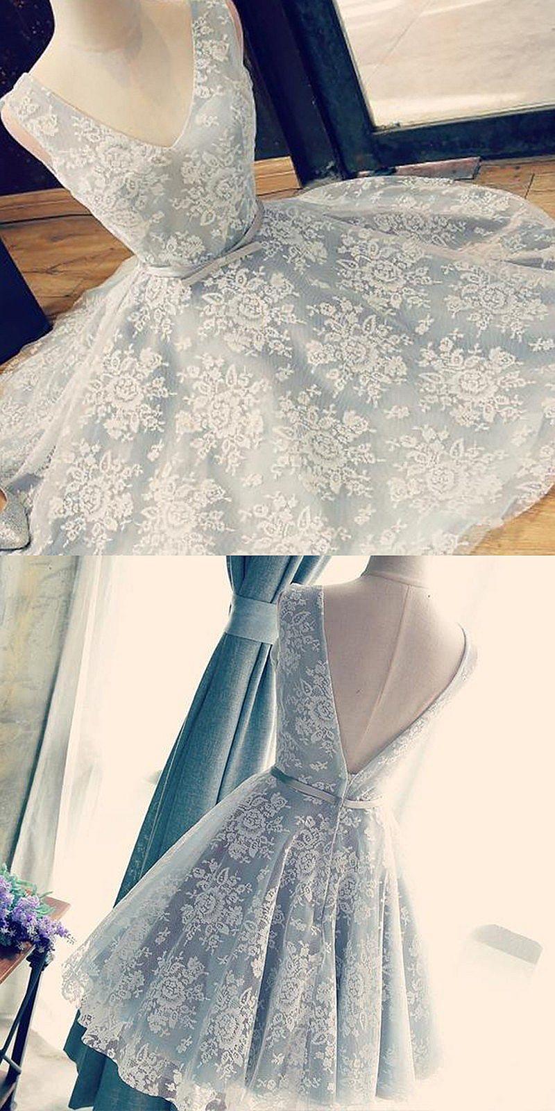 Aline vneck backless short light grey homecoming dress with sash