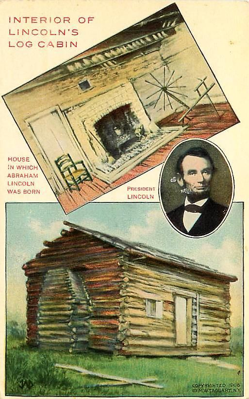 Abe Lincoln Antique Postcard C 1908 Lincoln S Log Cabin Lincoln Logs Log Cabin Postcard