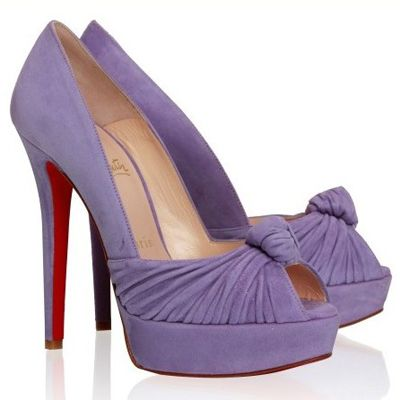 Christian Louboutin Greissimo 140 Suede Peep Toe Pumps Lavender