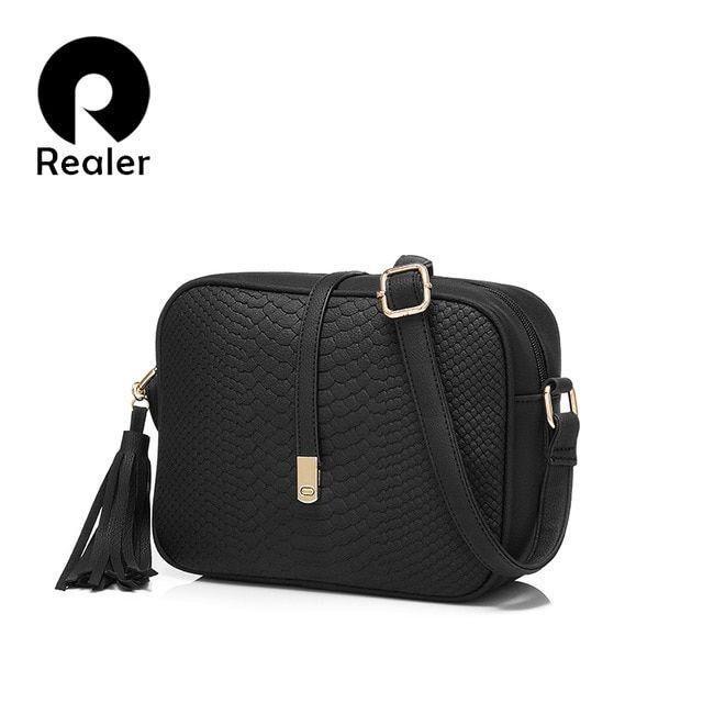 8797f5e30d REALER brand small shoulder bag for women messenger bags ladies retro PU leather  handbag purse with tassels female crossbody bag Review
