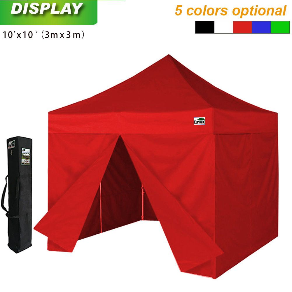 Easy Pop Up Canopy 10x10 Waterproof Patio Gazebo Tent+4 Zip Side ...