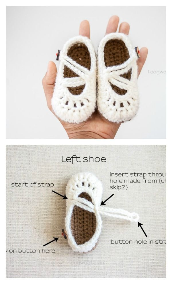 Crochet Baby Mary Jane Booties Free Patterns | Double crochet, Mary ...