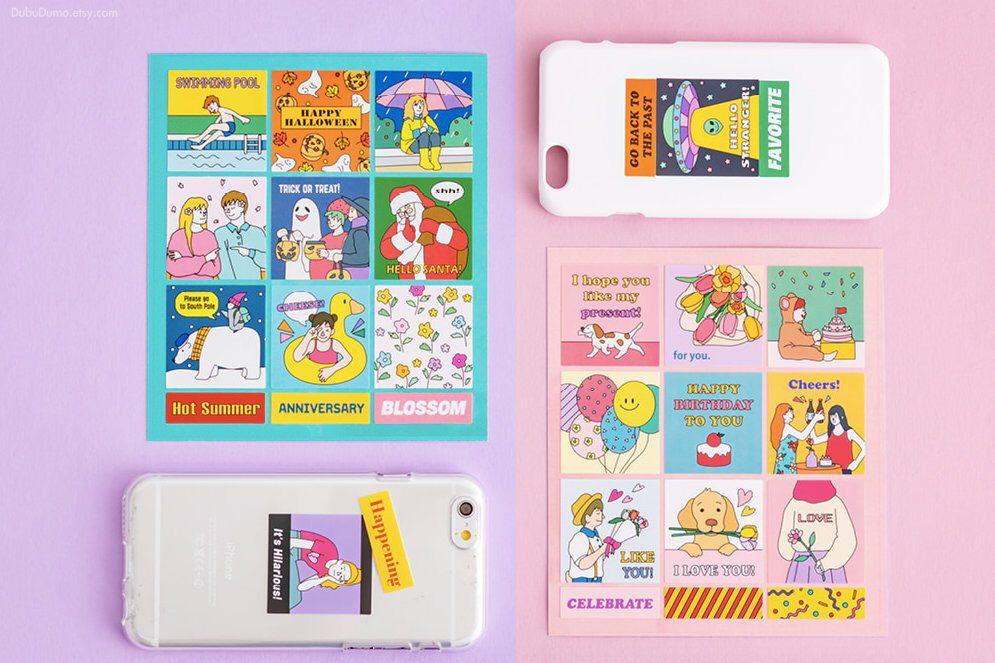 Retro Square Stickers 5types Vivid Stickers Decal Etsy In 2020 Scrapbook Stickers Planner Stickers Sticker Design