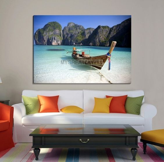 Large Wall Art Canvas Boat on Beach in Front of Hills