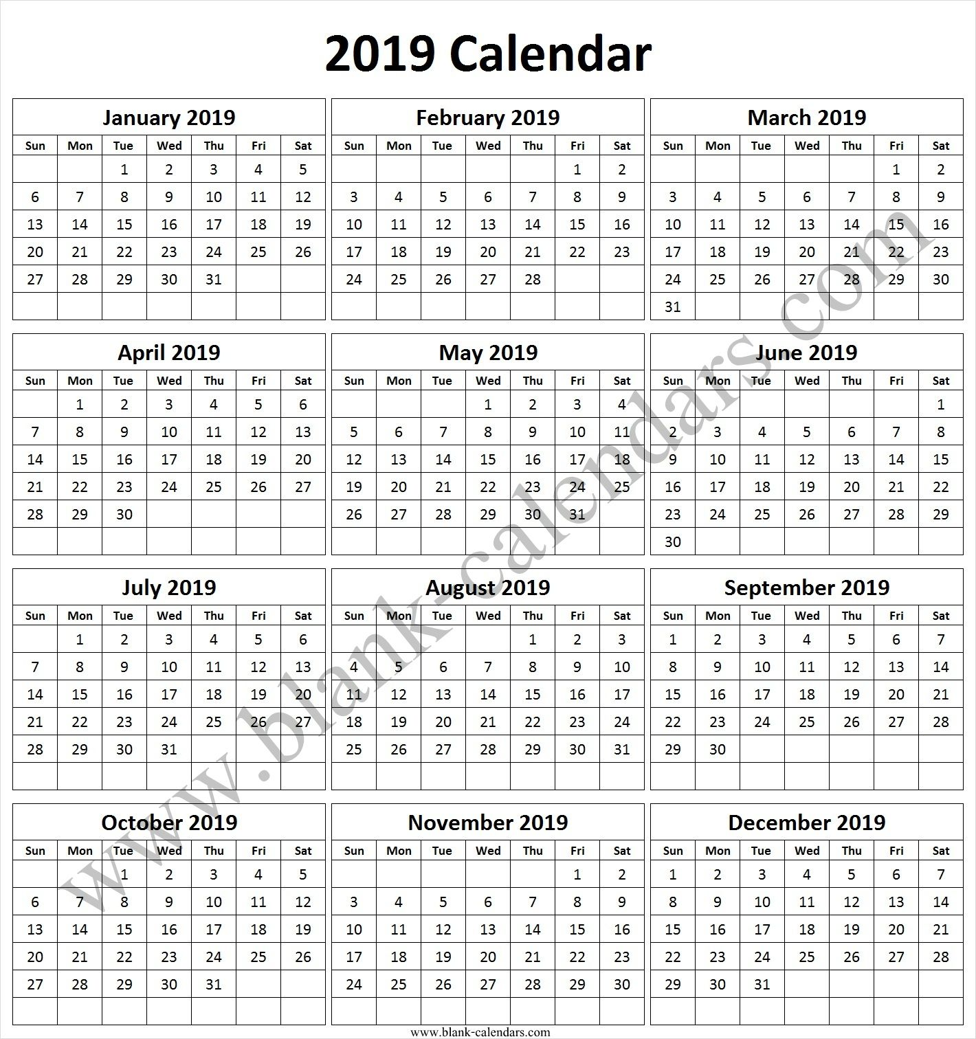 2019 Calendar Landscape In Color